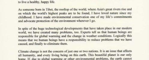 达赖喇嘛尊者致函呼吁联合国气候大会对全球气候变化采取行动