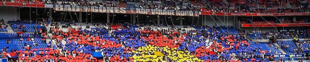 法国里昂足球赛场一整片观众席拼成一幅巨大的西藏国旗图案
