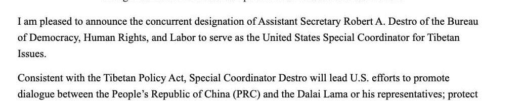 美国国务院任命新的西藏问题特别协调员
